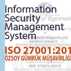 Bilgi Güvenliği Yönetim Sistemi Sertifikamız – ISO 27001:2013