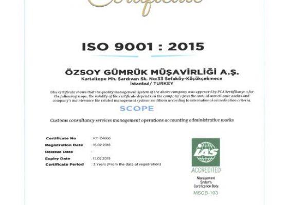 Yönetim Kalite Sertifikamız ISO 9001:2015